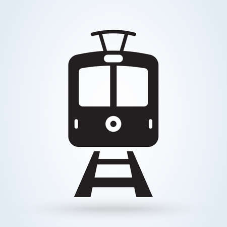 Vintage tram front view icon. Trams on the railway transportation concept. vector illustration.