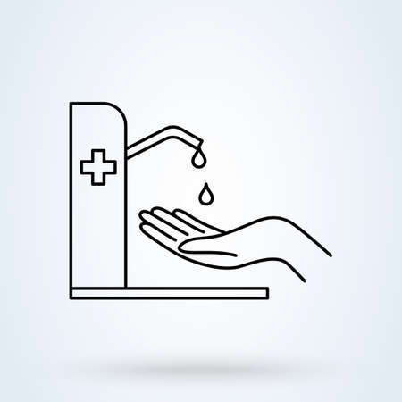 Hands using automatic sanitizer liquid spray machine with cross symbol. Hand wash and Hand sanitizer. Alcohol-based hand rub. Line icon vector illustration.