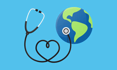 Conceptual illustration of a heart earth world globe with a stethoscope wrapped around it. World Health Day. Vector illustration