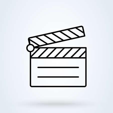 movie clapperboard thin line icon on white background. Outline Vector illustration Illusztráció