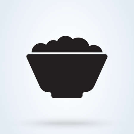 Bowl of food and cereal and rice. Vector illustration icon