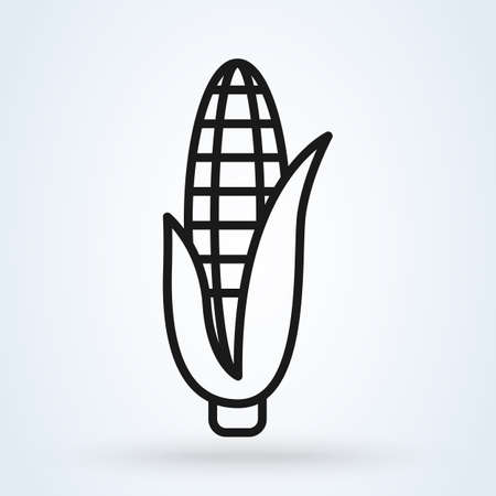 Corn Vegetable Minimal Flat Line Outline Stroke Icon. Vector illustration