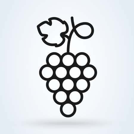 Bunch of grapes with leaf line art. Vector illustration