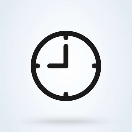 Clock icon in trendy flat style isolated on background. Clock logo, vector illustration