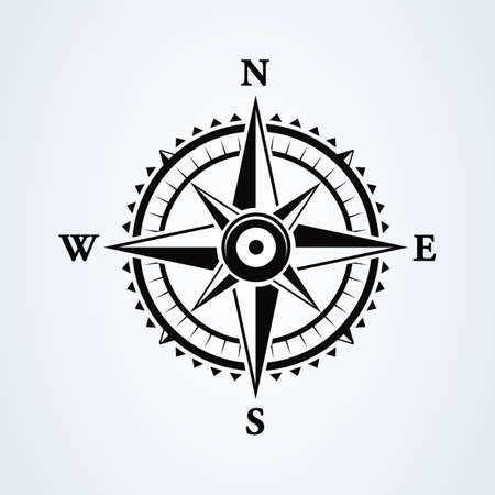 Compass wind rose icon isolated on white. Vector illustration.
