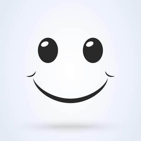 Smile icon template design. Smiling emoticon, emoji vector illustration. Vettoriali