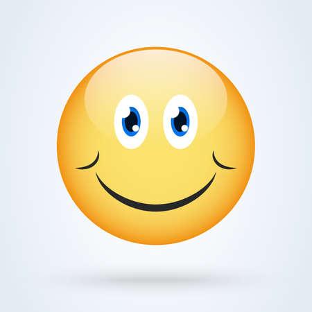 Happy smile emoticon yellow with shadow, emoji vector illustration. Vektorové ilustrace