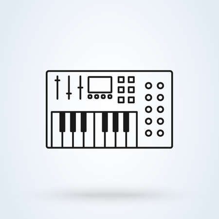 Music synthesizer icon illustration in line design style isolated on white background. Acoustic instrument sign.