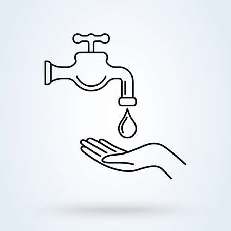 Wash your hands vector illustration in line design style. Perfect icon for prevention of virus infection, sanitary and hygiene concept.