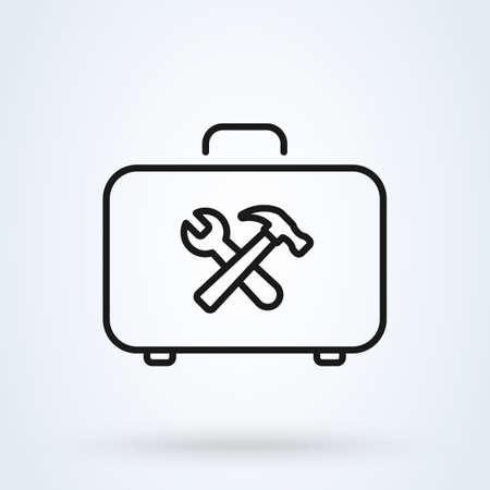 Toolbox vector icon in line style. Repair service logo template. Logo