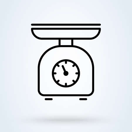 Domestic weigh scales line. vector Simple modern icon design illustration.