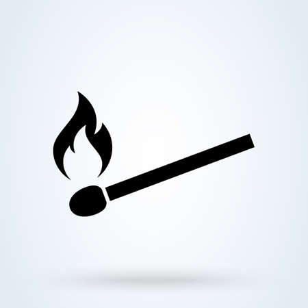 burning match. vector Simple modern icon design illustration.