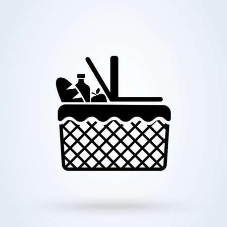 Basket picnic. vector Simple modern icon design illustration.