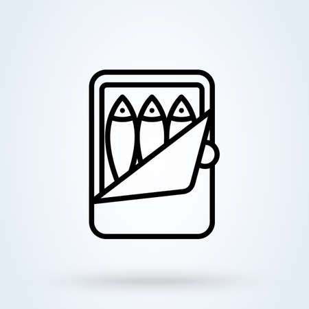 canned fish. vector Simple modern icon design illustration.