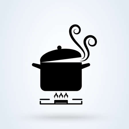 Cookware on gas stove. Pans with boiling water, opened and closed pan lid on gas stove, fire and steam, vector illustration. vector Simple modern icon design illustration. Ilustração