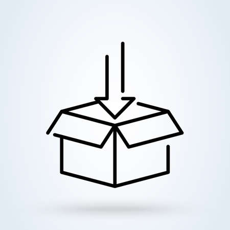 Unboxing, Boxing day illustration. Arrow Package vector icon. Online shopping line art style.