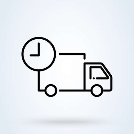 Fast shipping delivery truck in linear. Freight forwarding services with clock thin line icon, vector illustration.