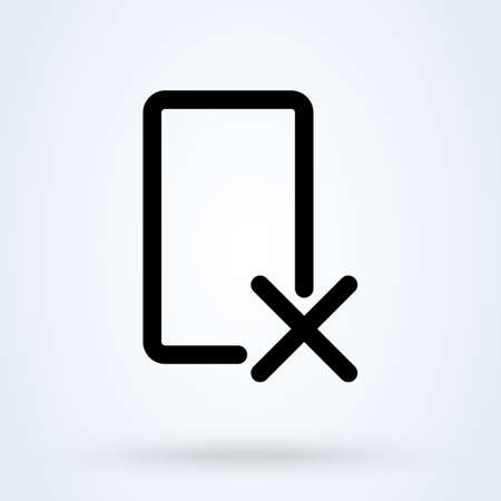 Delete Device icon or logo line art style. Rejected web access. Thin line rejected access vector illustration. Ilustração