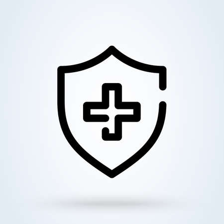medical shield icon or logo line art style. Outline Immune system concept. protection shield cross vector illustration.