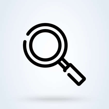 Magnifying glass or search icon or logo line art style. Outline loupe concept. Magnifying glass vector illustration.