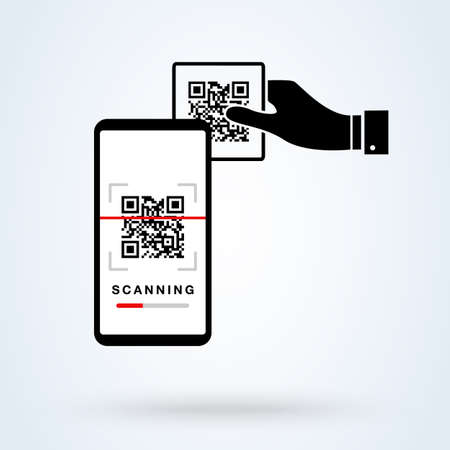 QR code scanning smartphone app linear icon. Matrix barcode scanner. Thin line illustration. 2D code mobile phone reader. Contour symbol. Editable stroke. Simple modern icon design illustration.