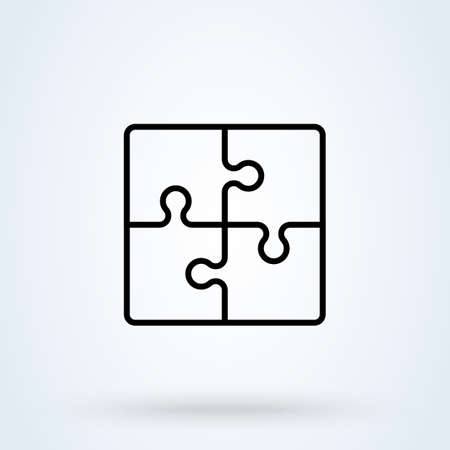 Puzzle pieces and problem solving icon or logo line art style. Outline puzzle game fully editable concept. puzzles and solutions, compatibility vector illustration.