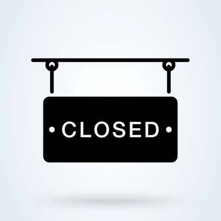 Closed in signboard icon or logo. Closed Store Sign concept. about closed on door vector illustration. Illustration