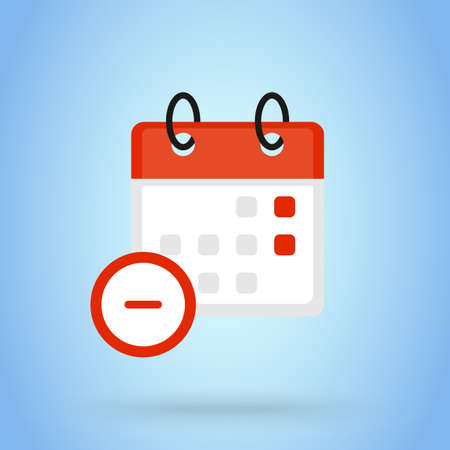Calendar or date remove sign icon. cancel the calendar concept. event calendar remove, Flat Design vector illustration.