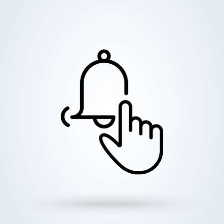 Subscribe button or notification bell on it line icon. bell notification hand Click concept. Finger click the notification bell linear vector illustration.