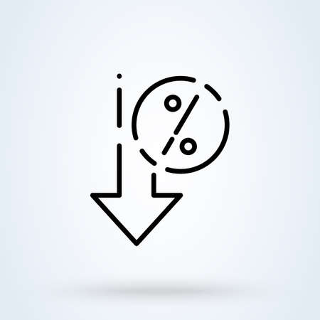 Percent down sign line icon  . interest rate reduction or percent down concept. Down arrow discounts vector linear illustration.