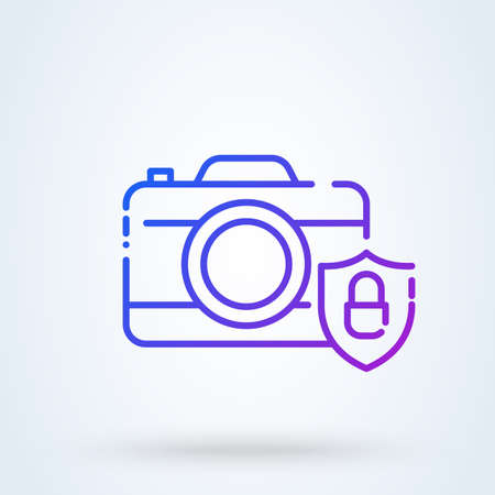 Shield and Photo Camera sign line icon  . device privacy and shield concept. unlocked Shield and password of camera security linear illustration. Ilustracja