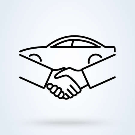 Car Deal with Hand shake sign line icon or logo. Business shaking concept. Car dealer making a deal handshake vector linear illustration.
