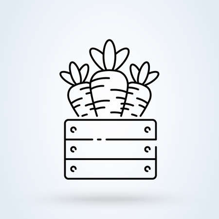 Carrot wooden box line icon or logo. food wooden box concept. Healthy natural product vector linear illustration.
