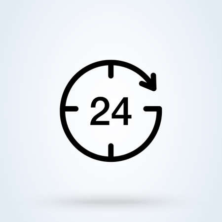 Open around the clock serving clock arrow sign line icon or logo. Online 24 concept. twenty four hour vector linear illustration. Vettoriali