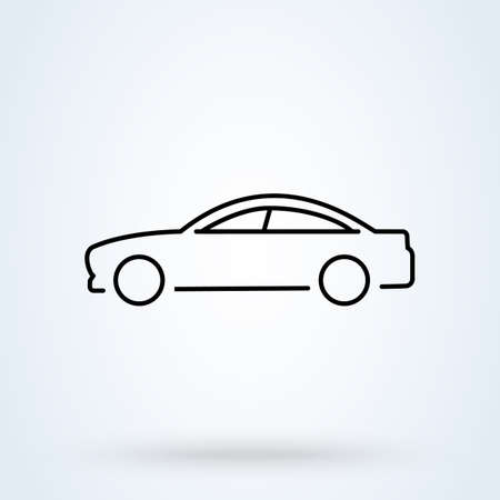 side car sign line icon or logo. Universal car concept. vector linear illustration.