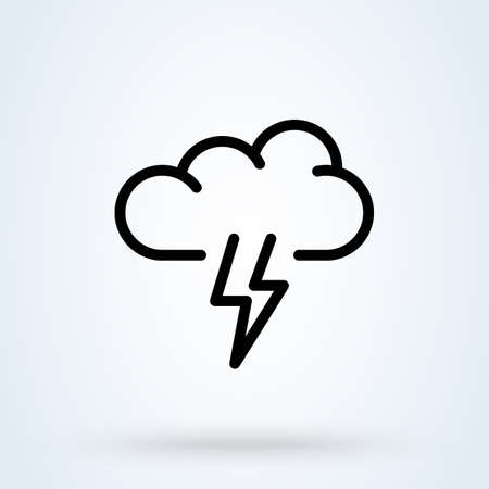 thunder storm line icon or logo. Cloud lightning concept. clouds above it vector linear illustration.