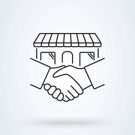 Handshake and successful real estate transactions sign line icon or logo. Handshake and house concept. Construction and real estate vector linear illustration.