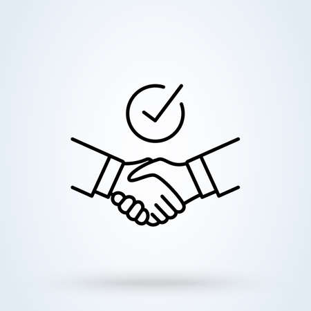 Handshake Shield Check Mark sign line icon or logo. Commitment thin concept. Trust Commitment Business vector linear illustration.