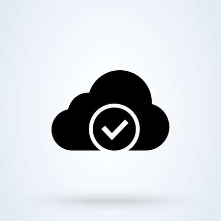 Clouds with check sign icon or logo. Software update process completed concept. Approved Cloud Computing vector illustration.