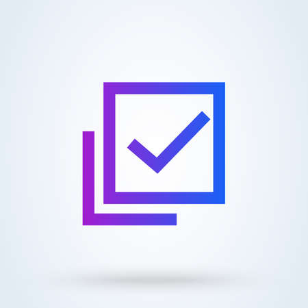 Check mark sign icon or logo. Quality or approved concept. Guaranty certificate vector illustration.