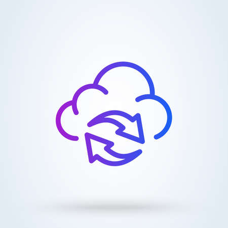 backup data sign line icon or logo. Cloud sync or cloud refresh concept. Data Storage Cloud vector linear illustration.