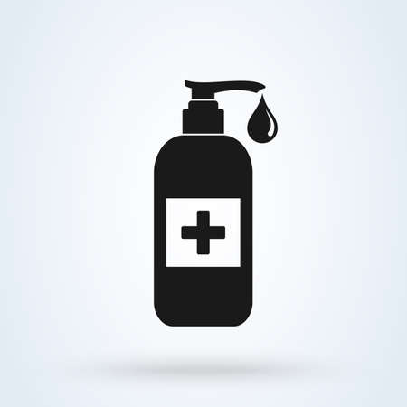 Hand sanitizer icon. Washing hand with sanitizer liquid soap vector