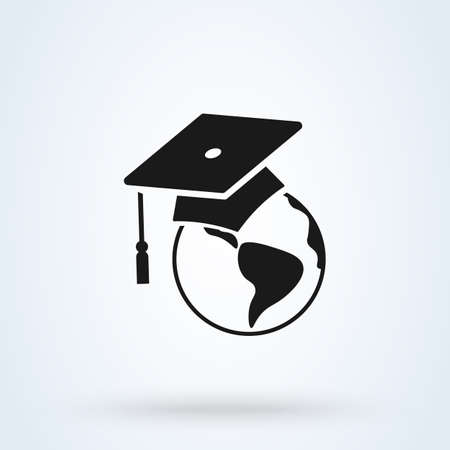 graduation cap on globe vector icon illustration. World Education.   combination of a graduation cap and earth