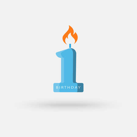 Number one candle illustration. Birthday concept. illustration can be used for topics like special day, celebration, festive cake. Vector Simple modern icon design illustration. Ilustração