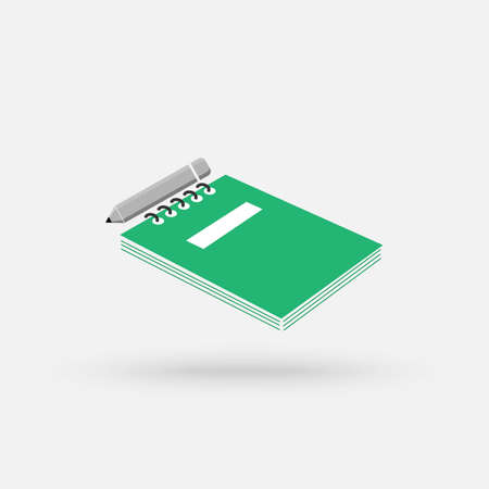 Notepad with pencil flat linear long shadow icon. Taking notes. Vector outline symbol. Vector Simple modern icon design illustration.