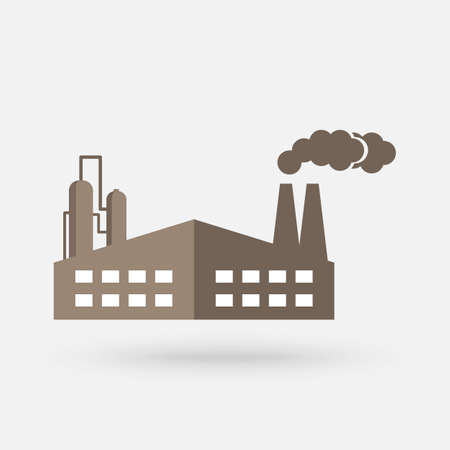 Old factory vector silhouette pictogram on white background. Industrial pollution vector icon. Vector Simple modern icon design illustration.