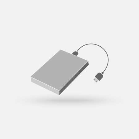 External hard disk drive with USB cable isolated on white background. Portable external HDD. Memory drive vector illustration. Vector Simple modern icon design illustration.