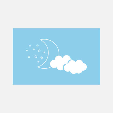 Night icon vector illustration on white background. Month in the clouds sign. Light sign board. Shiny moon, stars and cloud in style vector illustration. Vector Simple modern icon design illustration.