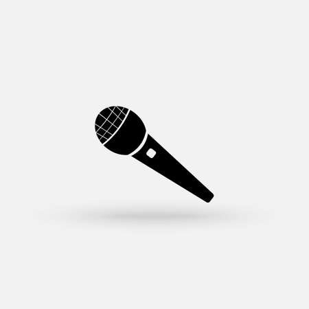 Microphone icon in flat style. Mic broadcast vector illustration on white isolated background. Microphone mike speech business concept. Vector Simple modern icon design illustration.