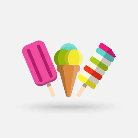 Set of various delicious ice cream including lolly ice, cones with different topping and fruit ice. Vector illustration of healthy food for takeout, bar or restaurant menu. Cartoon style icon.